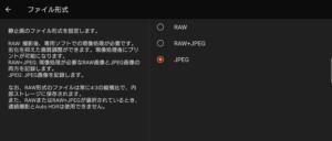 ファイル形式の選択画面